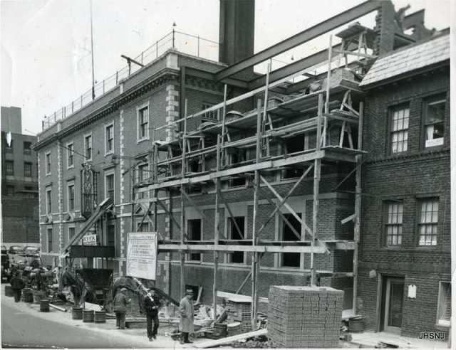"Remember our ""Y""!  This is the construction of the addition in April of 1950."