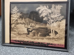 A second recently donated reproduction lithograph of the Paterson Falls. This appears to have been a printing copy of some variety from a more recent era than the image was originally produced in.